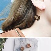 耳環 簡約 不對稱 鏤空 珠珠 金屬 個性 耳環【DD1704205】 ENTER  06/29