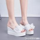 夏季2020新款時尚版鞋厚底鬆糕跟白色拖鞋韓版坡跟超高跟女涼拖潮 印象家品