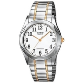 CASIO 輝煌時尚紳士金銀指針腕錶-數字白面(MTP-1275SG-7B)