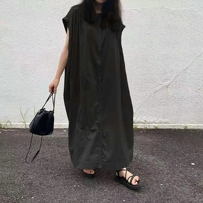日系洋裝~長版長裙~韓式純色寬松襯衫連身裙#2690N515愛尚布衣