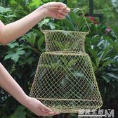 防掛摺疊鋼絲魚護魚簍網兜漁護漁網漁具釣魚用品裝魚護網金屬  WD 遇見生活