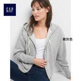 Gap女裝 短款蝙蝠袖拉鏈連帽長袖休閒外套 282683-雜灰色