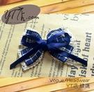 【YT店髮飾】英倫藍格紋蕾絲緞帶蝴蝶結髮夾/髮飾/頭飾/鯊魚夾(G013)