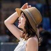 草帽女夏天度假防曬沙灘帽休閒百搭遮陽帽時尚韓版漁夫帽太陽帽子