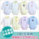童裝純棉包屁衣-提花空氣棉日本嬰兒服長袖肩扣式內搭衣-JoyBaby