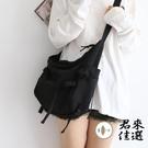 素色斜背包女斜挎包單肩包大學生補習袋書包 機車風黑色【君來佳選】
