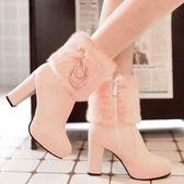 大尺碼韓版側拉鍊高跟甜美少女風馬丁女靴子冬季保暖雪地粗跟中筒靴 伊韓時尚