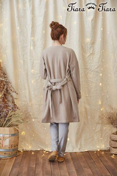 【Tiara Tiara】激安 素面長袖綁帶罩衫外套(卡其)