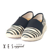 XES 女鞋 休閒鞋 斑馬紋輕量休閒 搭配白色 大底像膠 舒適好穿 黑色