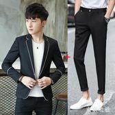 西裝套裝 新款春男士外套休閒西服修身青年帥氣小西裝兩件套 QQ7182『東京衣社』