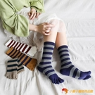 4雙裝 純棉中高筒五指襪女條紋運動型五指襪【小獅子】