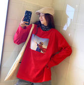韓版T恤女中長款長袖大碼女純棉原宿風T恤女不掉色GT270-A依佳衣