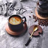 北歐式陶瓷杯子創意描金粗面咖啡杯碟套裝簡約英式下午茶杯紅茶杯【非凡】