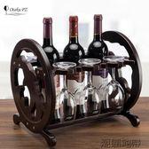 文藝海豚個性紅酒架家用歐式創意實木紅酒杯架倒掛客廳家居擺件【潮咖地帶】