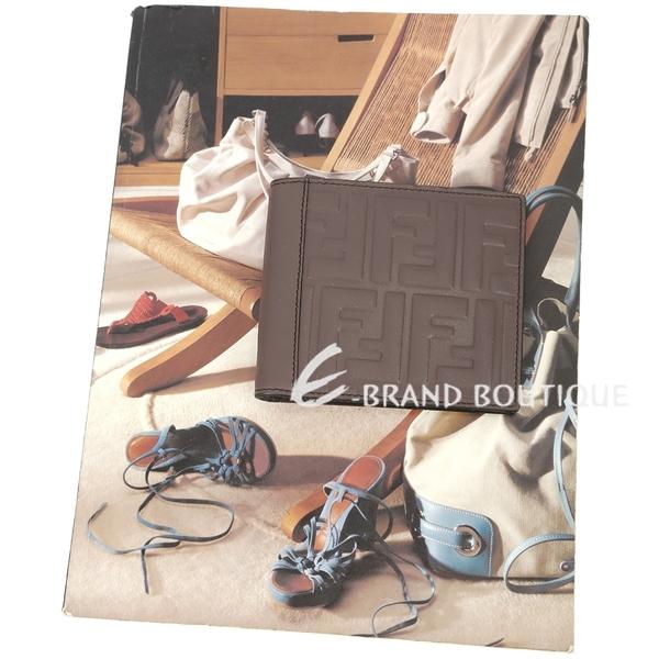 FENDI LOGO 浮雕小牛皮八卡短夾(咖棕色) 1820178-C7