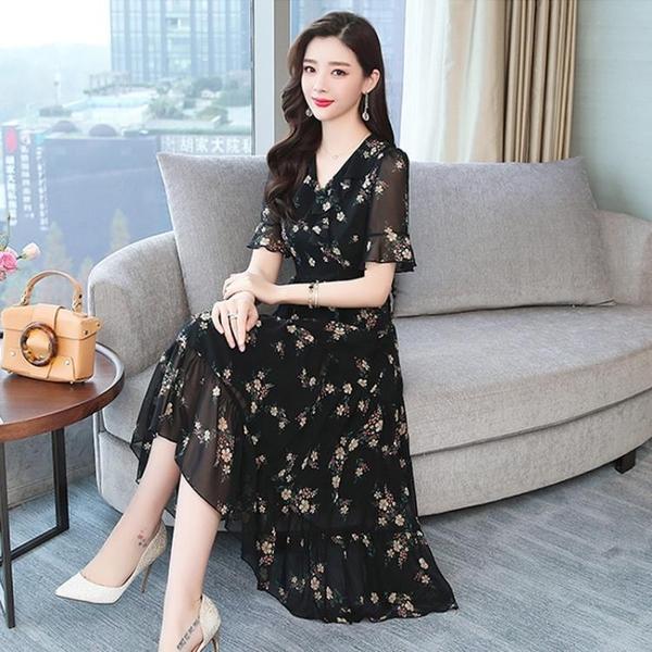 大碼洋裝 2021新款雪紡夏裝連身裙女顯瘦氣質碎花30一40歲50中年媽媽長裙子 維多原創