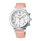 【萬年鐘錶】SEIKO LUKIA  太陽能 計時 碼錶 淑女 白色錶面  粉紅皮帶 女錶 SSVS007J(V175-0AJ0S)