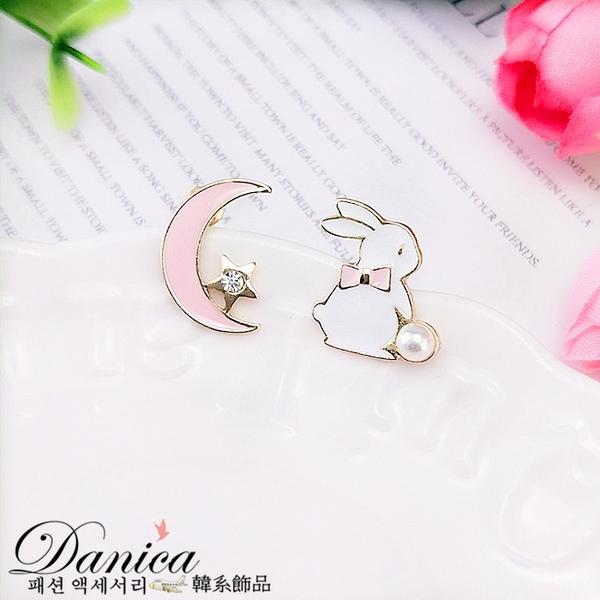 現貨不用等 韓國少女風氣質甜美兔子與月亮不對稱耳環 夾式耳環 S93139 批發價 Danica 韓系飾品