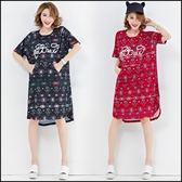 中大尺碼短袖洋裝連身裙★ifairies【57109】
