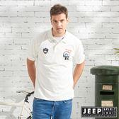 【JEEP】美式造型徽章短袖POLO衫-白