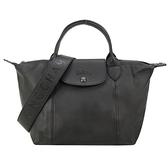 【南紡購物中心】LONGCHAMP Le Pliage Cuir 系列小羊皮寬背帶黑釦短把折疊水餃包(小/黑)