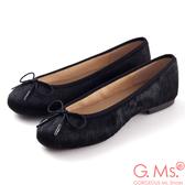 G.Ms.*MIT系列-全真皮蝴蝶結馬毛芭蕾舞鞋-馬毛黑
