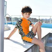 新款男童泳衣 時尚防曬中大童帶帽半袖學生分體套裝兒童泳裝