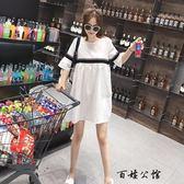 韓國短袖棉麻連身裙子孕婦洋裝 全館8折