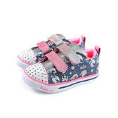 SKECHERS  Twinkle toes 休閒布鞋 電燈鞋 魔鬼氈 小童 童鞋 藍色 20274NLBMT no110