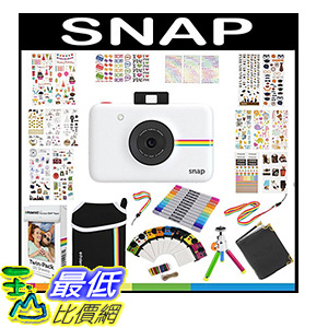 [106美國直購] Polaroid Snap Instant Camera Gift Bundle ZINK 9 Unique Colorful Sticker Sets Pouch Photo Album Accessories