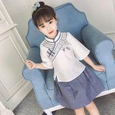 旗袍童裝夏漢服小女孩夏季古裝兩件套兒童洋氣套裙 LQ5910『miss洛羽』