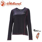 【Wildland 荒野 女 圓領雙色抗UV長袖上衣《黑》】0A71613/運動上衣/隔熱涼爽/吸濕快乾/登山旅遊