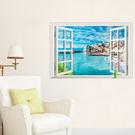 【義大利海邊牆貼】60*90創意3D窗戶...