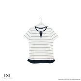 【INI】自然有型、簡單穿搭領口造型條紋上衣.白色