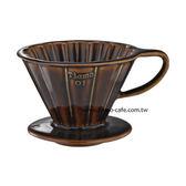 金時代書香咖啡 TIAMO V01花漾陶瓷咖啡濾器組 (咖啡))附濾紙量匙滴水盤 HG5535BR