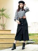 春裝上市[H2O]超顯瘦前面可開釦直筒水洗牛仔長裙 - 藍/黑色 #9682005