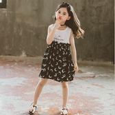 衣童趣♥韓版中大女童 甜美洋裝 月亮印花 夏日連身裙 無袖背心裙