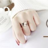 戒指-食指鈦鋼戒指女不掉色日韓玫瑰金個性大氣時尚指環女 東川崎町