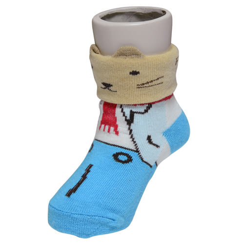 『121婦嬰用品館』狐狸村傳奇 哈維鼠造型短筒襪(9-11cm)-藍/咖/紫