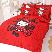 【享夢城堡】HELLO KITTY 我的小可愛系列-精梳棉雙人床包兩用被組(粉)(紅)