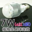 植物生長要素不可或缺 陽光補充 led植物生長燈 7W e27球泡型 紅光660nm 藍光430nm 每入480 JPN008