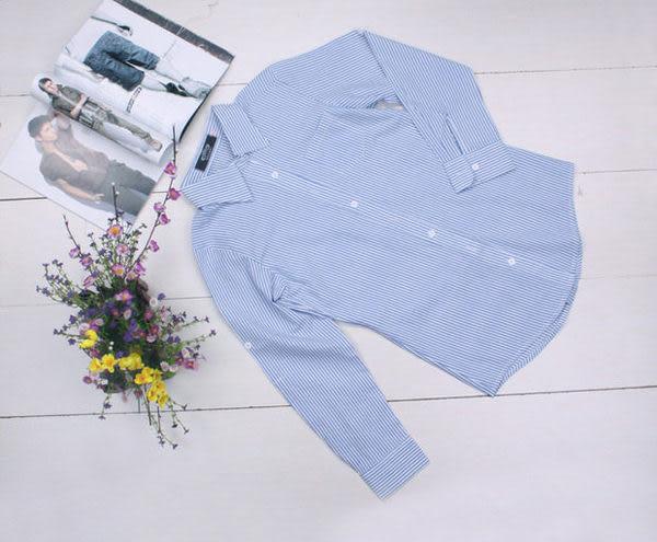 韓版女裝OL純棉條紋長袖襯衫 加大碼XSXXL