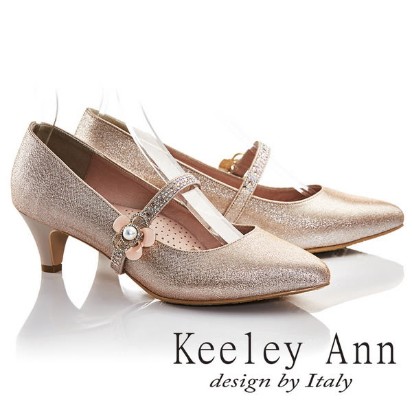 ★2017春夏★Keeley Ann唯美新娘~珍珠花小碎鑽可拆式腳背帶真皮軟墊中跟鞋(粉金色)