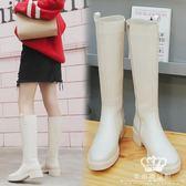 長靴 直筒靴女中筒平底靴女加絨高筒馬靴女大碼女靴