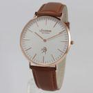 【萬年鐘錶】 LICORNE  entree  經典簡約超薄真皮腕錶  玫瑰金 40mm  LT056MRWD-R