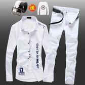 春夏季男士韓版長袖襯衫牛仔長褲套裝潮流修身寸衫休閒襯衣服外套 最後一天85折