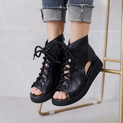 魚嘴涼靴女 真皮手工女鞋 高幫系帶馬丁靴/2色-夢想家-標準碼-0409