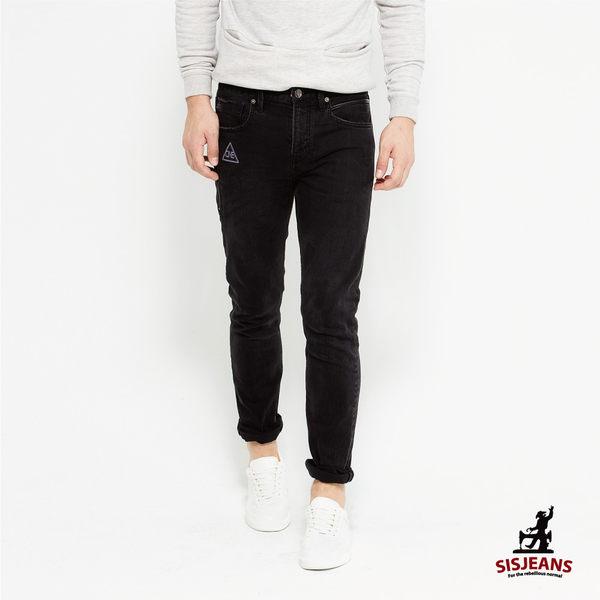 SISJEANS-黑色個性貼繡緊身牛仔褲【16271004】