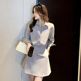 長袖洋裝 假兩件顯瘦襯衫連身裙-媚儷香檳-【FD0094】