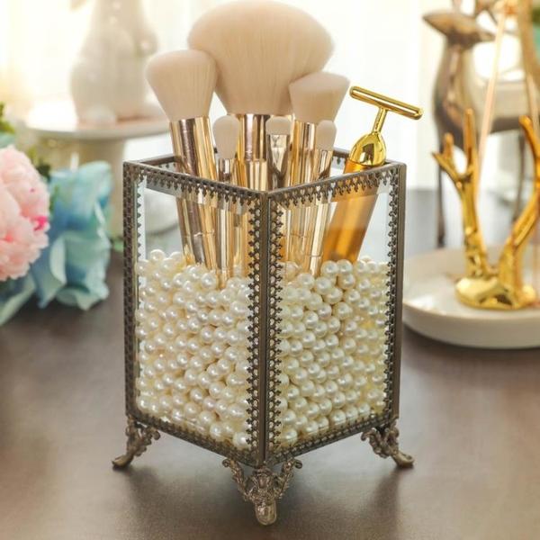 新款復古銅歐式刷桶化妝刷收納盒透明化妝刷筒彩妝刷桶 筆筒